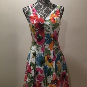 Ralph Lauren Colorful Floral Fit and Flare Dress